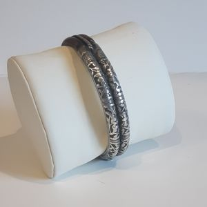 Antique Sterling Silver & Bamboo Bracelet Bangle